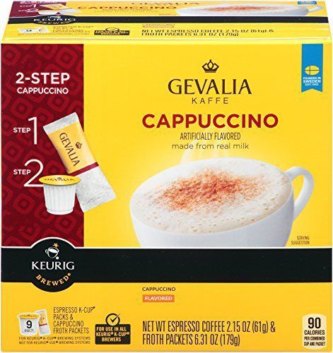 Gevalia Cappuccino K-Cup Packs and Froth Packets 9-Count - http://teacoffeestore.com/gevalia-cappuccino-k-cup-packs-and-froth-packets-9-count/