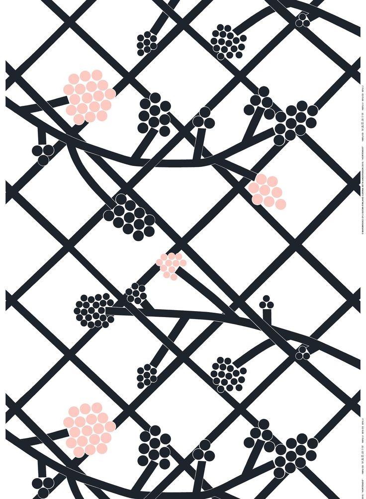 Hortensie cotton linen - white, d.grey, l.red - All items - Fabrics - Marimekko.com