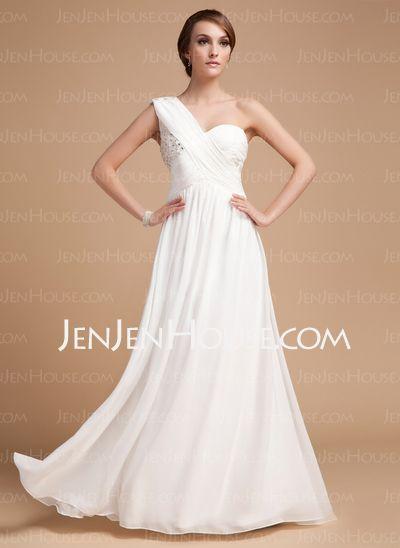 Cheap Holiday Dresses - $146.99 - A-Line/Princess One-Shoulder Floor-Length Chiffon Charmeuse Holiday Dresses With Ruffle Beading (020014487) http://jenjenhouse.com/A-line-Princess-One-shoulder-Floor-length-Chiffon-Charmeuse-Holiday-Dresses-With-Ruffle-Beading-020014487-g14487