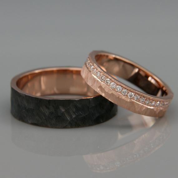 His and Hers Wedding Ring Set |14k Rose Gold Wedding Band Set with Dimoands in Rough Faceted style | Black Rhodium Wedding Bands Set