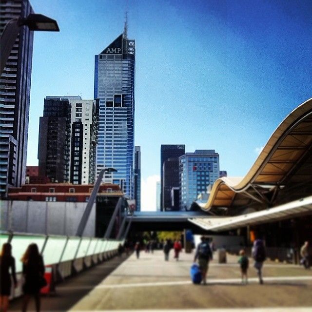 Melbourne's city skyline at midday. Taken from Bourke Street overpass bridget at Southern Cross Station, facing east towards the city.   Photo source: www.instagram.com/lexipippa22 Original photographer.