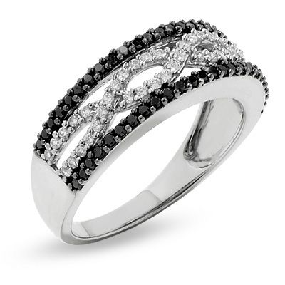 1/2 CT. T.W. Enhanced Black and White Diamond Infinity Ring in 10K White Gold <3 So pretty