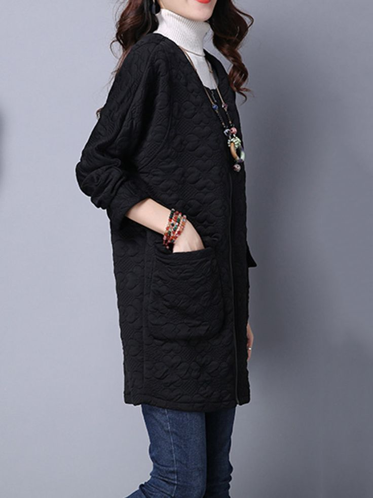 Vintage Solid Long Sleeve Zipper Loose Long Coat at Banggood