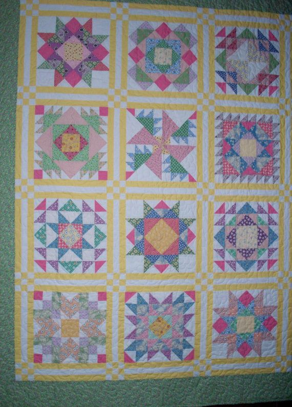 Sampler Quilt in 1930 Reproduction Feedsacks by PennyLaneCottage, $225.00