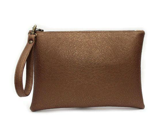 Bronze Metallic Wristlet, Ostrich Faux Leather Clutch, Large Zipper Pouch, Bronze Metallic Clutch Bag, Vegan Leather Bag,Bronze Clutch Purse