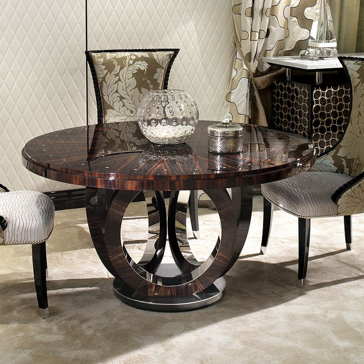 Coquette Macassar Ebony Circular Table With Elliptical Rings Base Finished  In High Gloss Macassar Ebony And Polished Steel.