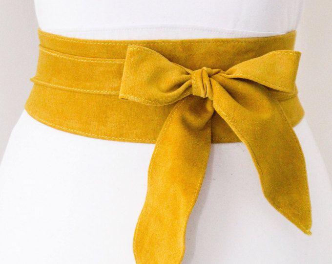 Cinturón Obi de gamuza amarillo mostaza Tulip lazo   Correa de cintura   Cinturón de antelina a lazo   Correa de cuero de gamuza real   Amarillo correa   Más cinturones de tamaño