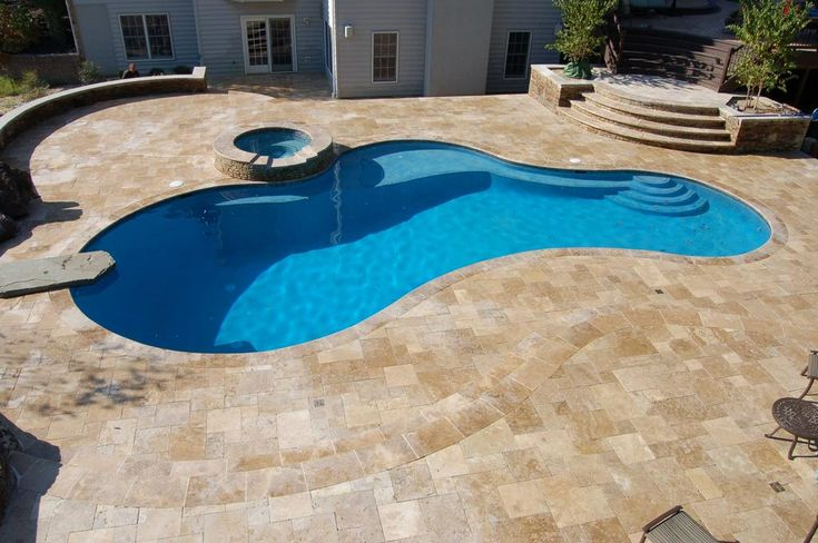 Travertine coping and tile with pebble tec fina finish in for In ground pool coping ideas