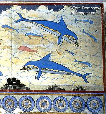 Minoan Dolphin fresco, Knossos, Crete, Greece, 1500 BC. Reproduction