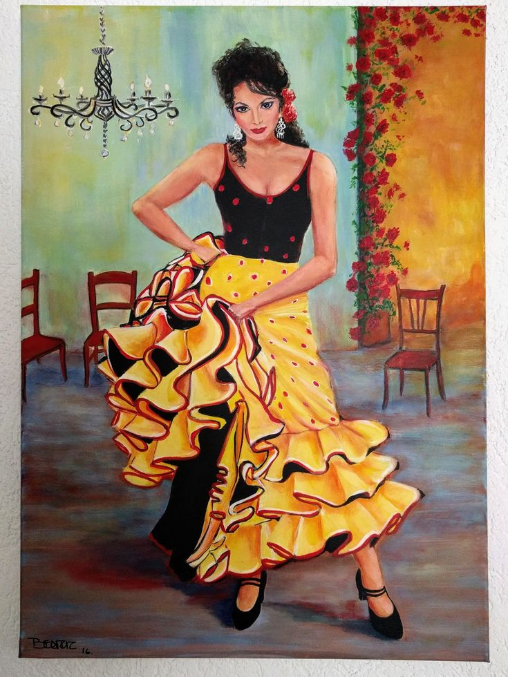 Flamenco. #flamenco #dance #andaluz #Andalucía #woman #yellow #Spain #España #beatrizstawiskicardenas Oil&acryl 75*60cm
