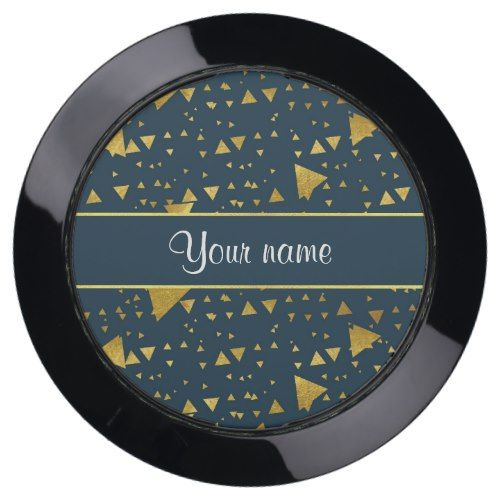 Contemporary Gold Triangles on Navy Blue USB Charging Station