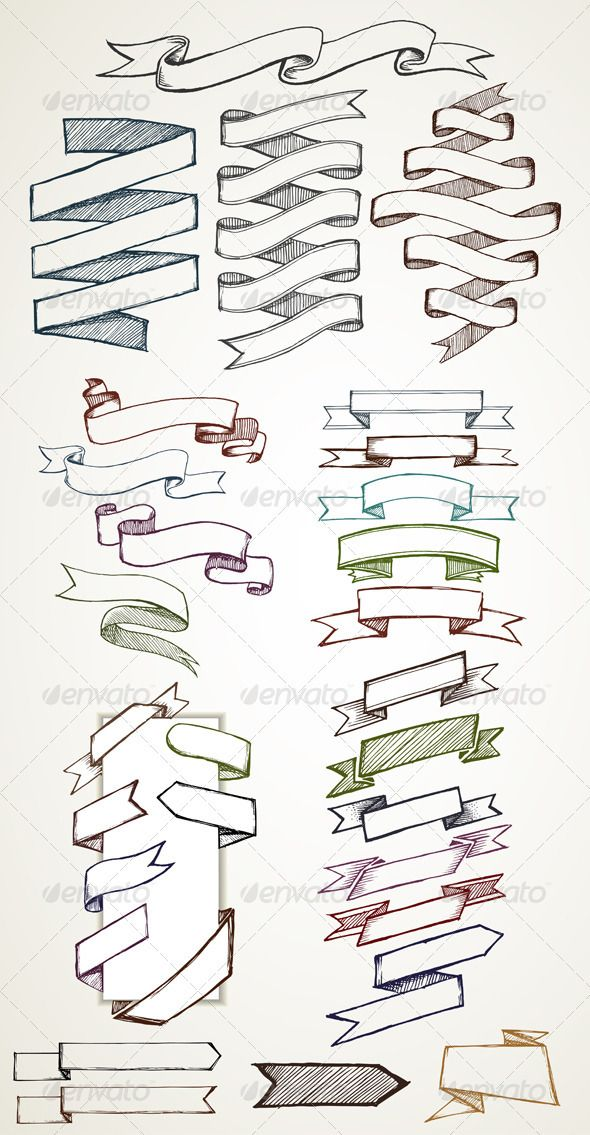 Banners and Labels Sketches - Decorative Symbols Decorative