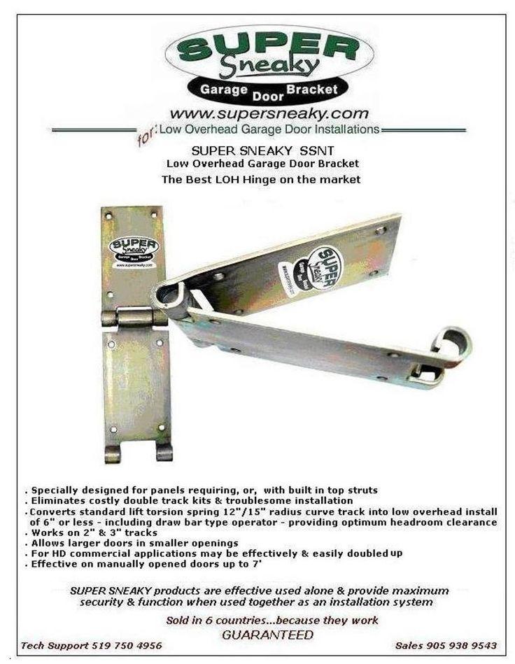 Super sneaky no tab low overhead garage door hinges for Garage ad le pin