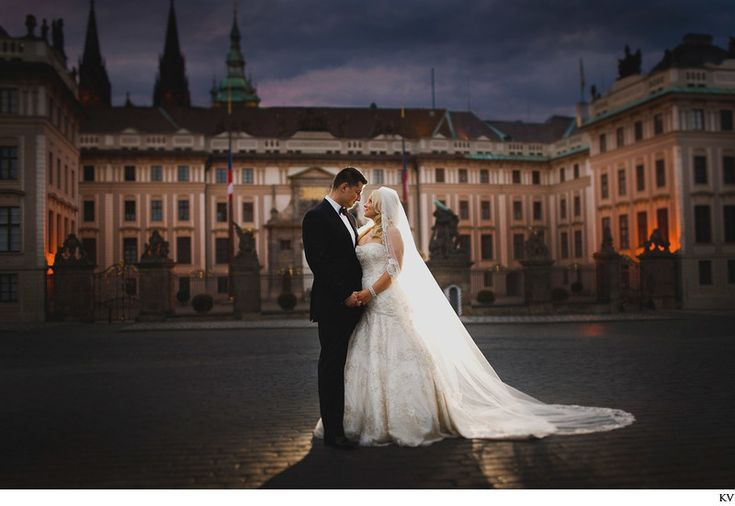 CJ luxury destination wedding photography Prague Castle the luxury wedding of C&J who traveled to Prague for their beautiful, intimate wedding. Lovingly captured at Prague Castle after sunset.