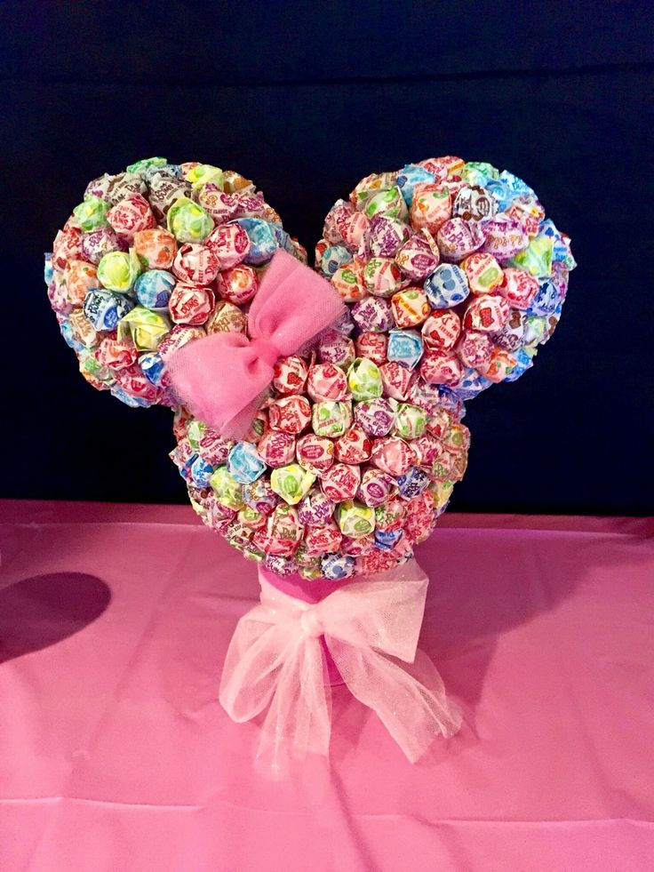 My Daughters First Birthday Party Minnie Mouse Theme 9/12/2015 Handmade Minnie Lollipop Head Guessing Game