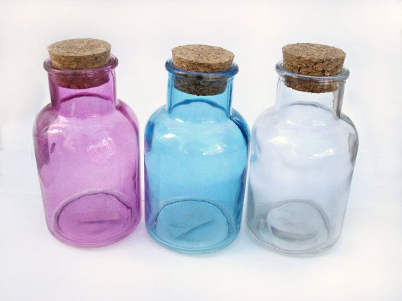 72 best containers vials bottles images on pinterest for Colored glass bottles with corks