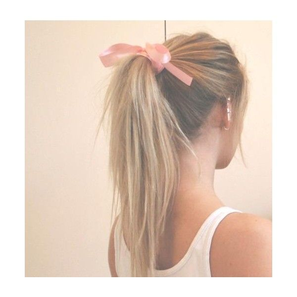 messy ponytail with cute ribbon