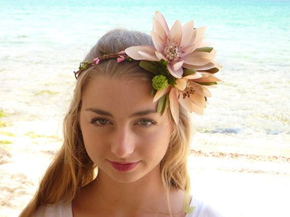 Big lotus Flower Crown Frida Hair Headband by BlackSwanFeather