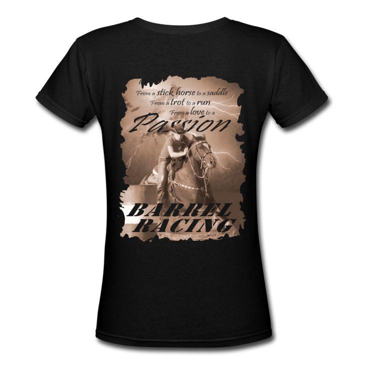 Barrel Racing Passion V-Neck T-Shirt | Spreadshirt | ID: 5933509