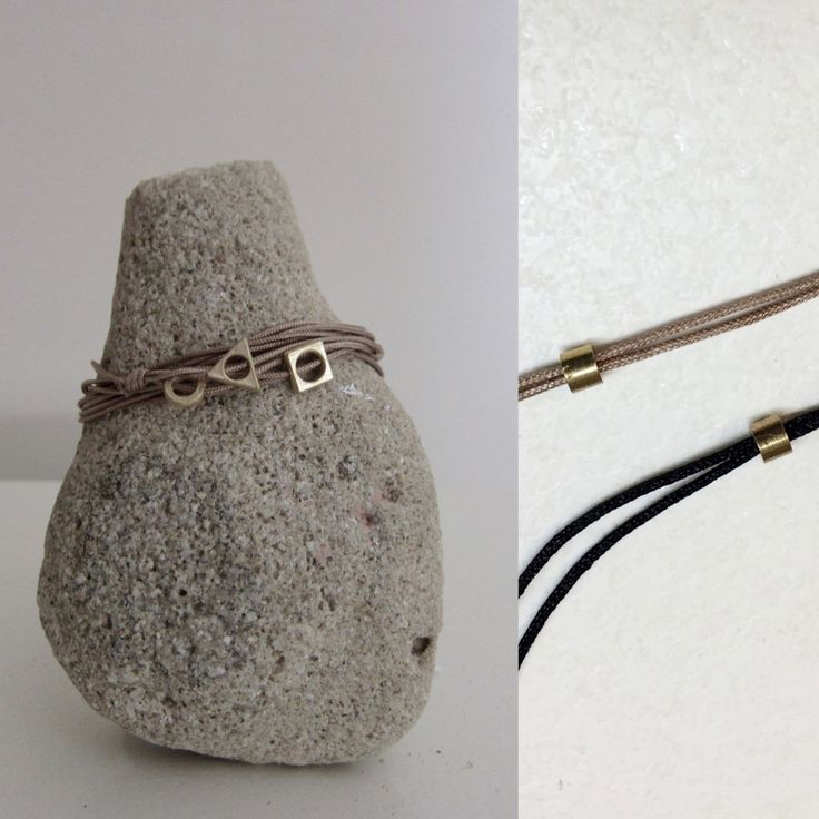 Geometry cord bracelet/geometry bracelet/waxed cord/adjustable necklace/triangle bracelet/nude color cord/gift for her/bronze/square pendant by MOMADjewels on Etsy