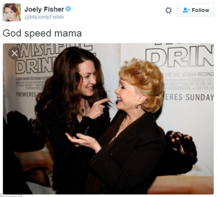 Joely Fisher, who is the daughter of Eddie Fisher and Connie Stevens, sent Reynolds well wishes online
