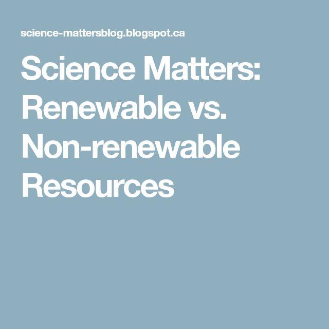 Science Matters: Renewable vs. Non-renewable Resources