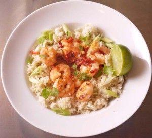 Coriander and Ginger Cauliflower Rice with Chilli Garlic Prawns 5-2 diet recipe