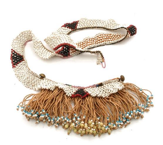 "Africa | Cache-sexe ~ ""tetana"" ~ from Lesotho | 20th century | Vegetable fiber, glass beads."