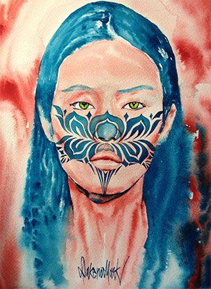 Lotus, watercolour by Dakeno Mark, 2013