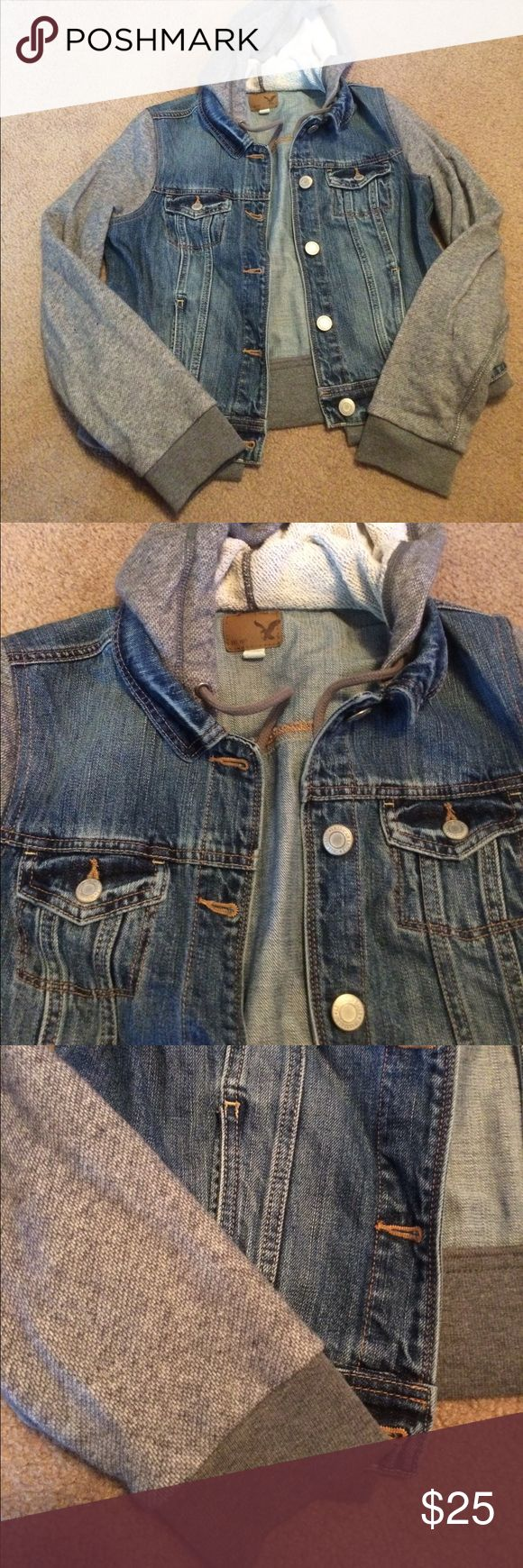 American Eagle denim jacket size large American Eagle denim jacket size large, gray sleeves and hood American Eagle Outfitters Jackets & Coats Jean Jackets