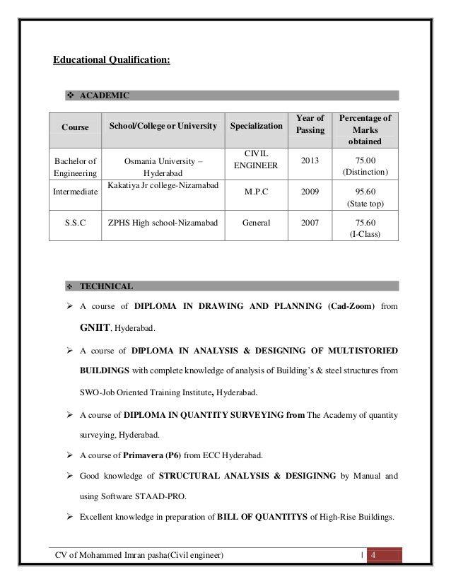 Cv Of Mohammed Imran Pasha Civil Engineer 4 Educational