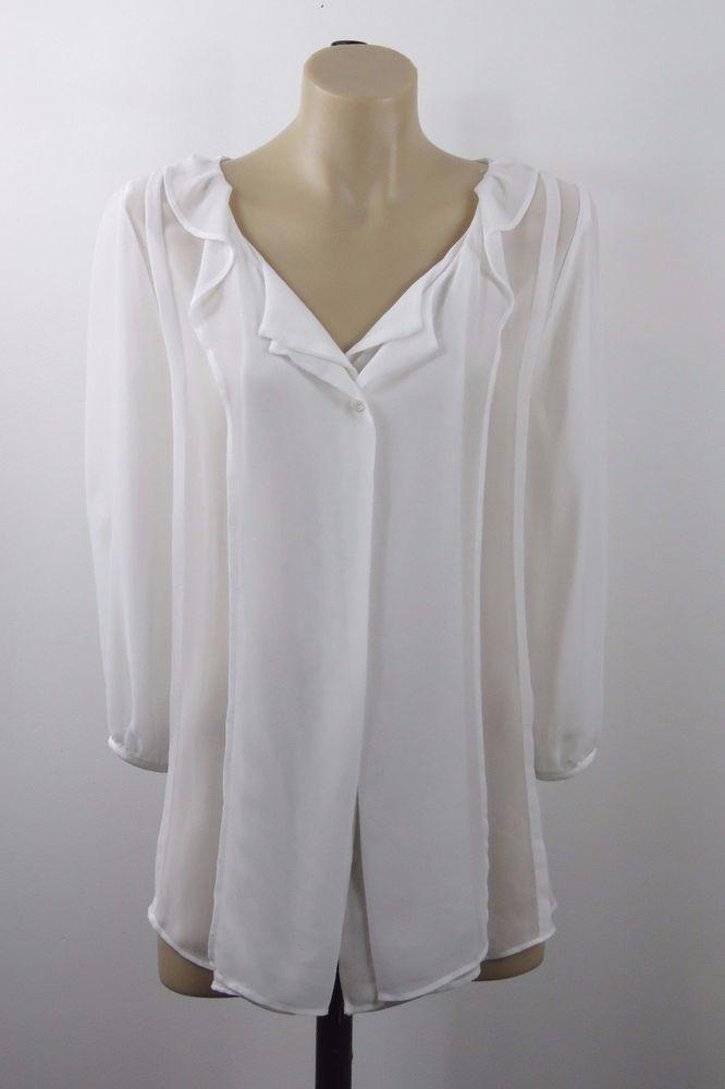 Size XL 16 Ladies White Sheer Top Tunic Vintage Boho Chic Feminine Wedding Style #HotOptions #Blouse #Career