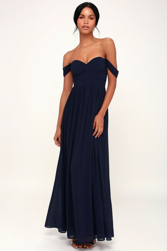 344488aca3b2 Set the romantic mood in the Lulus Harmonious Love Navy Blue  Off-the-Shoulder Maxi Dress! This stunning maxi dress is shaped from  elegant chiffon that ...