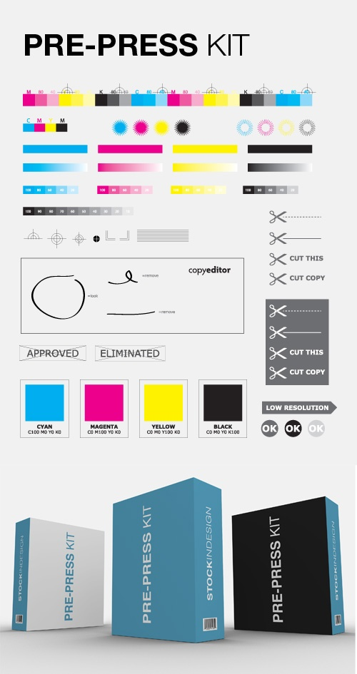 Pre-Press Kit for Designers - free download. Kit of vector objects makes it easy to add elements like color scales, registration marks, fold lines, cut lines, and much more to any design for press output.