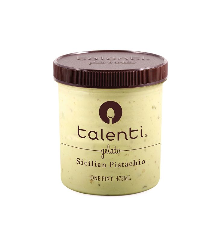 Talenti Sicilian Pistachio gelato. Pistachios are so humble, hiding in their little shells. We made them so not-humble by roasting them and blending them with our homemade pistachio butter and the purest milk, sugar and cream.