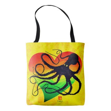 Octopus Orange To Green  On Yellow - Tote Bag - ocean side nature waves freedom design
