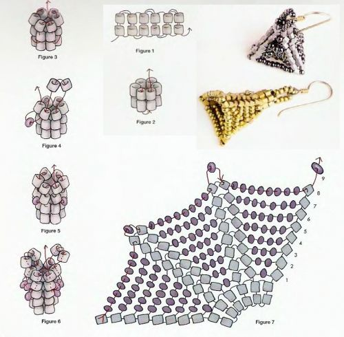 Schema for Pyramid of increasing inclusions.  ~ Seed Bead Tutorials