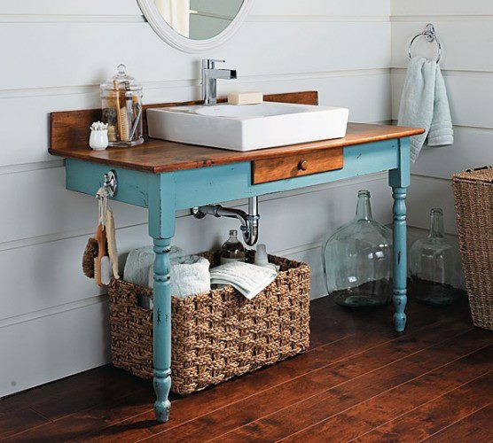 Delightful Bathrooms:Small Blue Rustic Bathroom Vanity With White Porcelain Sink Also  Stainless Faucet Above Rattan Towel Storage Creative DIY Bathroom Vanity  Design ...