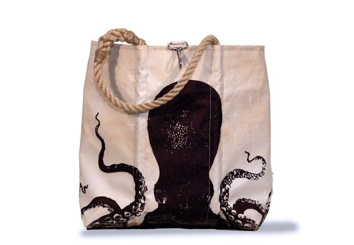 Sea Bags are made from real retired sails in Maine in the US. Every one is original. I LOVE this octopus design with Darwin inspired script. I want one!