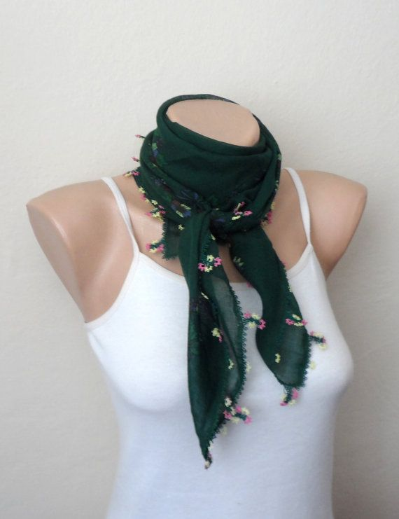 green scarf pink  flower  yellow red purple cotton turkish
