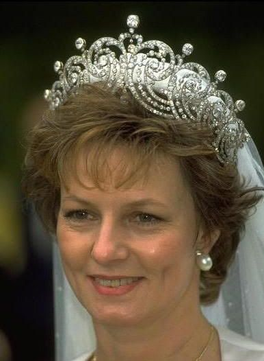 Princess Margarita of Romania wearing the Essex Tiara for her wedding