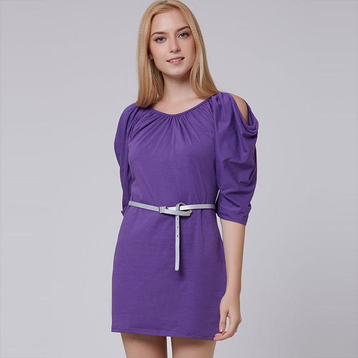 Young17 Summer Dress Women 2017 Khaki Purple Round Neck Pleated Half Sleeve Plain Female Dress Summer Babycon Dress #Affiliate