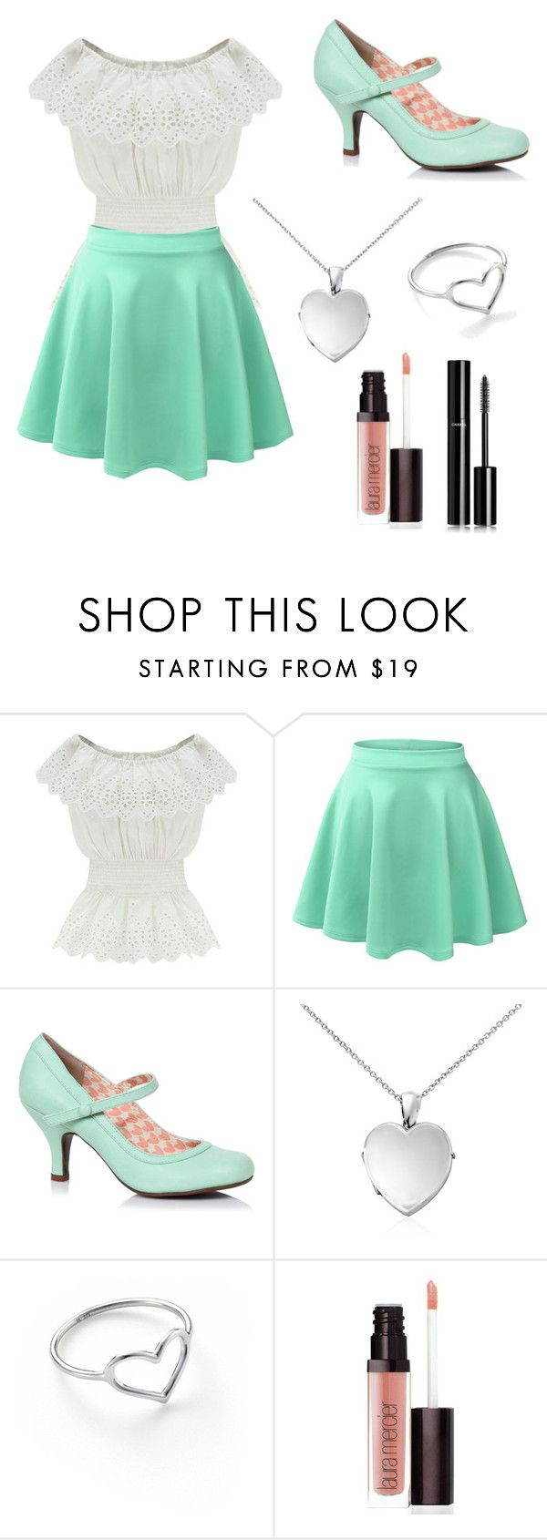 """Teal Sweetheart"" by pheobie-tonkin-rocks ❤ liked on Polyvore featuring WithChic, LE3NO, Blue Nile, Jordan Askill, Laura Mercier and Chanel"