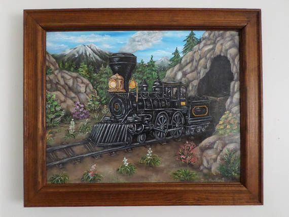 Steam engine acrylic painting Train painting wall art