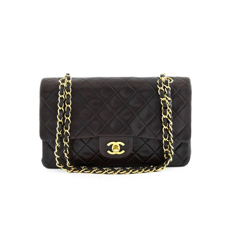 Chanel Dark Brown Quilted Lambskin Classic Medium Double Flap Bag