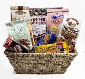Gourmet Gift Basket. Premium European Hand-made Confections... When you want to give the very best! Gift Basket Includes: Nancy Adams Premier Pretzel Box, Nancy Adams Chocolate Covered Graham Crackers, Brent  Sam Chocolate Chip Pecan Cookies, Pirouline Tin- Chocolate Hazelnut, Tate's Double Chocolate Chip Cookies, Vanilla Manner Wafers, Hit Cocoa Cookies, Hit Vanilla/Cocoa Cookies, Pims Raspberry Biscuits, Loacker Chocolate Sandwich Wafer Cookies  and Toblerone- Milk .