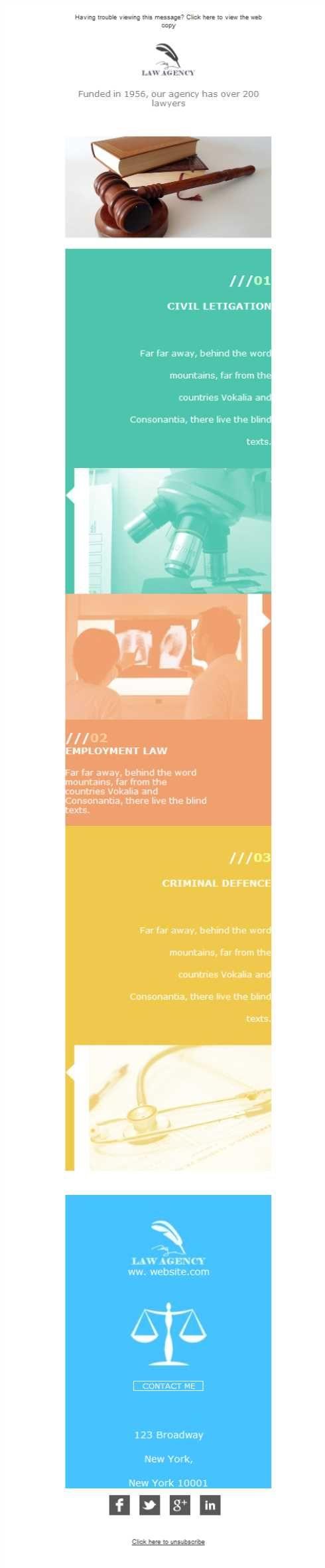 Versión responsive de plantilla newsletter para bufetes de abogados o servicios legales de consultoría.