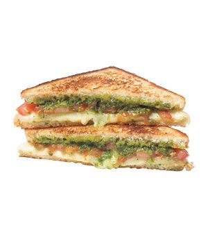 Pesto and tomato with grilled cheese - yes please!Tomatoes Pesto Sandwiches, Pesto Tomatoes, Cheese Sandwiches, Pesto Grilled, Tomatoes Grilled, Food Recipe, Grilled Cheeses, Real Simple, Pesto & Tomatoes Sandwiches