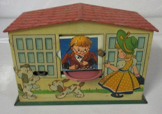 Antique Tin Toy Mechanical Coin Money Bank Little Girl Dogs Tin