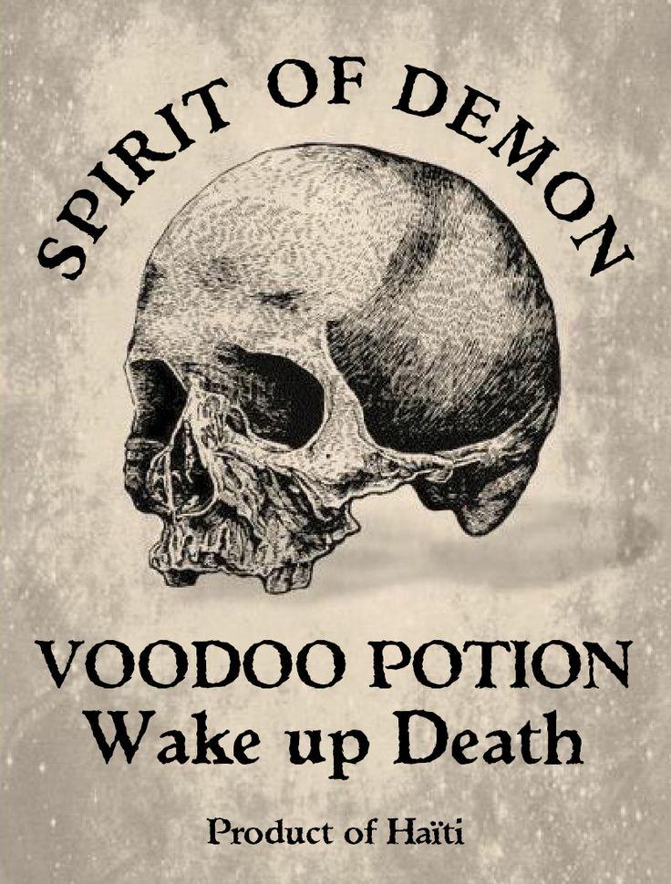 "Label bottle Halloween Apothecary : Woodoo potion Spirit of Demon  "" Wake up Death "" skull printable"